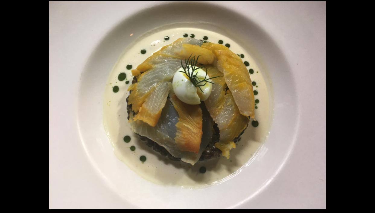 Salade de lentilles, haddock, œuf de caille